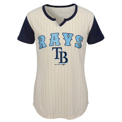 the latest b0f09 141f6 MLB Tampa Bay Rays Girls' In the Game Cream Pinstripe T-Shirt