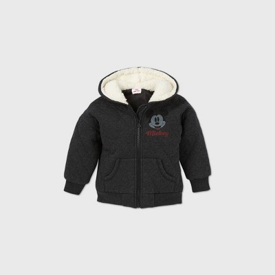 Toddler Boys' Mickey Mouse Sherpa Lined Quilted Fleece Zip-Up Sweatshirt - Black