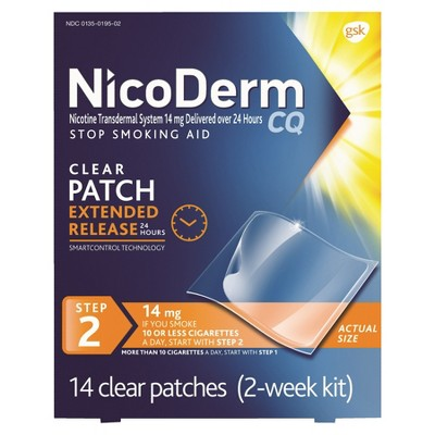 NicoDerm CQ Stop Smoking Aid Clear Patches Step 2 - 14ct