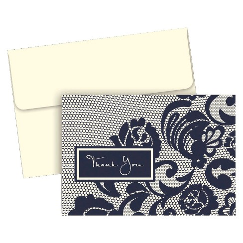 50ct Lovely Lace Wedding Thank You Cards - image 1 of 1