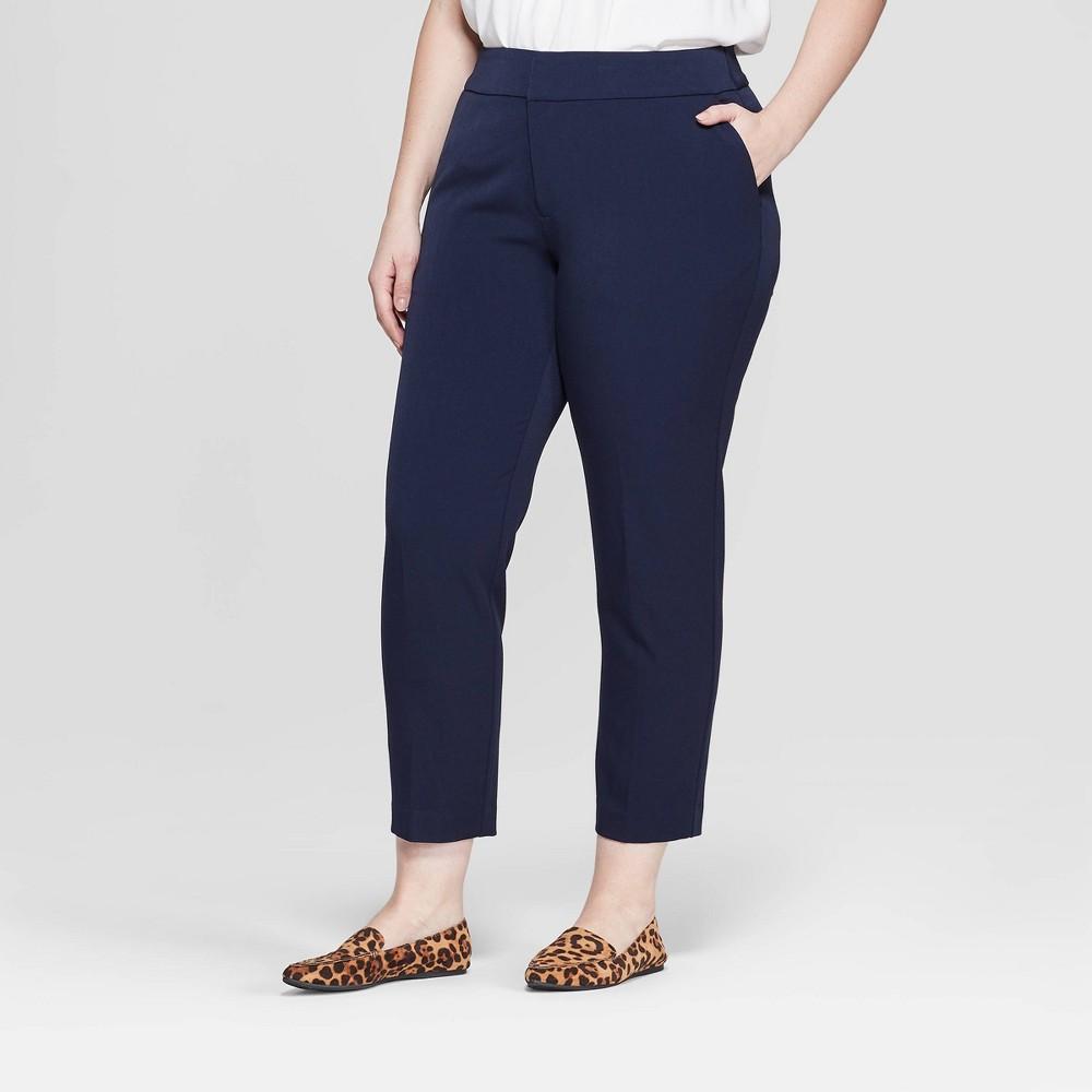 Women's Plus Size Slim Ankle Trouser Pants - Ava & Viv Navy (Blue) 14W