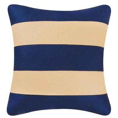 "C&F Home 18"" x 18"" Navy/Camel Stripes Pillow"