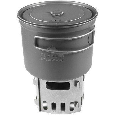TOAKS Titanium Alcohol Stove and 900ml Pot Cook System CS-04