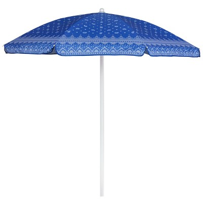 Picnic Time 5.5'  Beach Compact Umbrella with Paisley Pattern - Blue