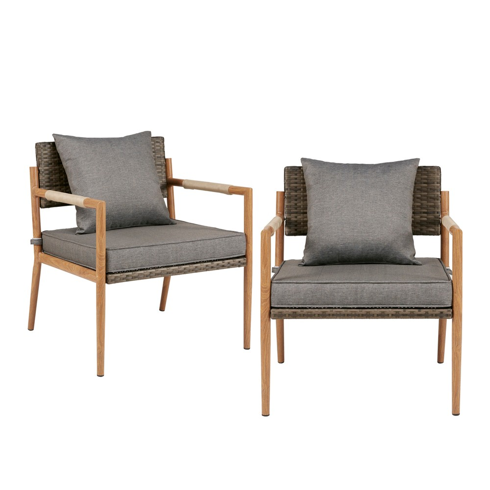 2pk Garvey Outdoor Resin Wicker Accent Chair Gray