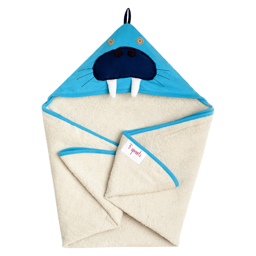 Image of 3 Sprouts Newborn/Infant Hooded Towel - Walrus