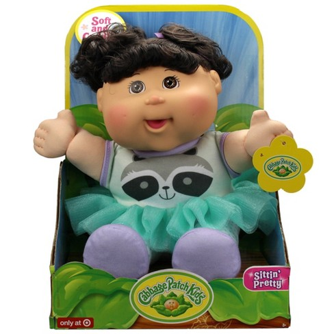 "Cabbage Patch Kids 12"" Sitting Pretty Black Hair Doll - Raccoon Dress - image 1 of 1"