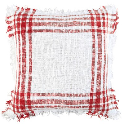 """18""""x18"""" Poly Filled Plaid Square Throw Pillow - Rizzy Home"""