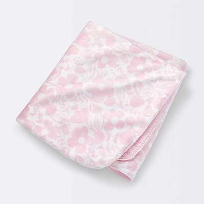 Plush Velboa Baby Blanket Watercolor Floral - Cloud Island™ Pink Lemonade