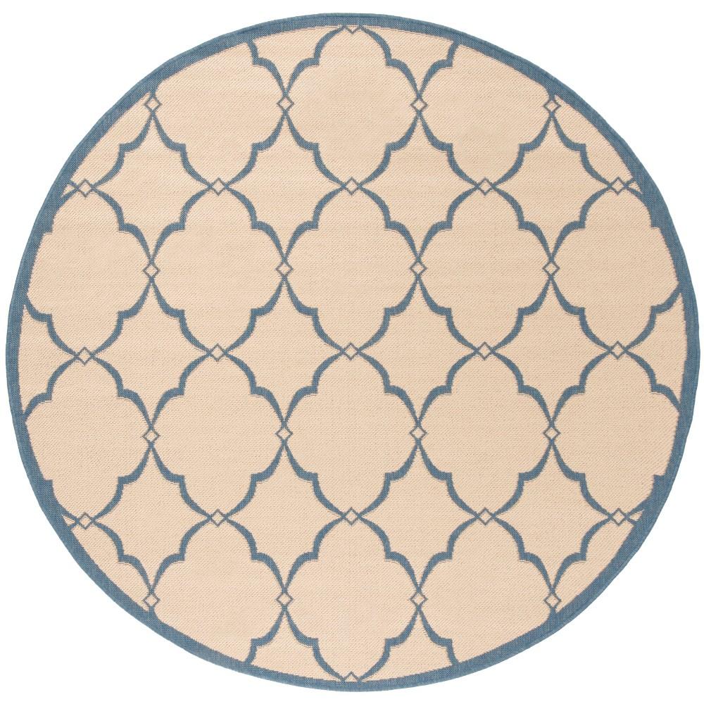 6'7 Geometric Loomed Round Area Rug Cream (Ivory) - Safavieh