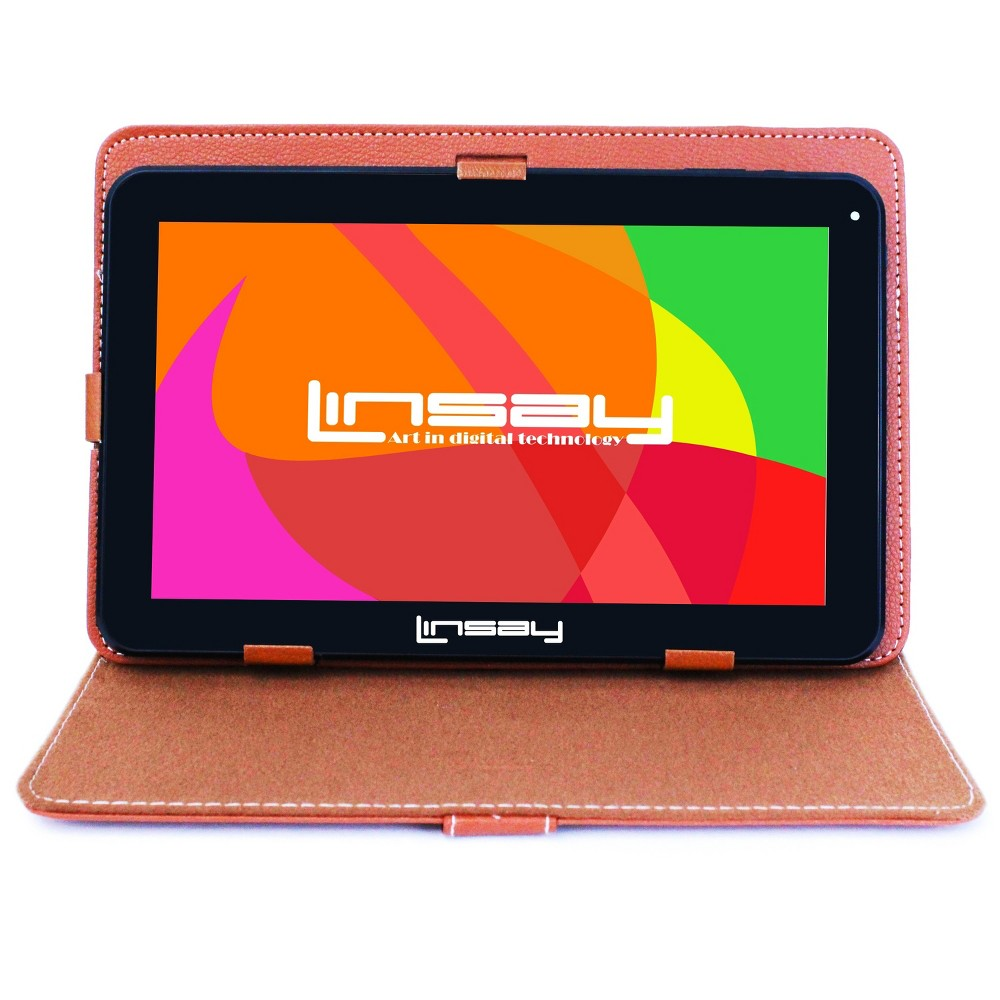 Linsay 10.1 1024x600 HD Quad Core 16GB Internal Memory Tablet with Brown Leather Case, Multi-Colored