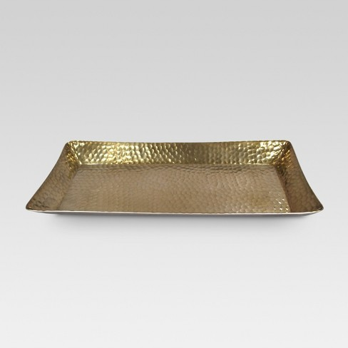 Phenomenal Metal Hammered Serving Tray Gold Threshold Machost Co Dining Chair Design Ideas Machostcouk