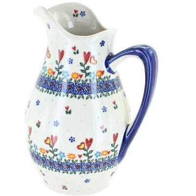 Blue Rose Polish Pottery Hearts & Flowers Pitcher