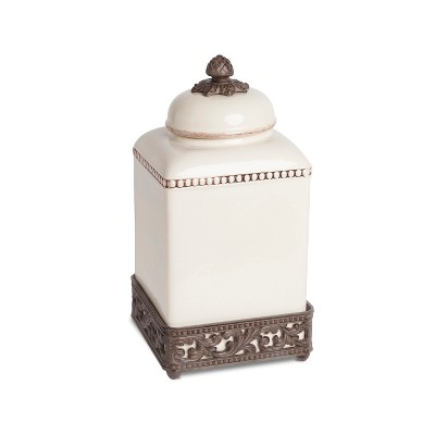 GG Collection 13.5-Inch Tall Cream Ceramic Canister with Acanthus Leaf Adorned Metal  Base