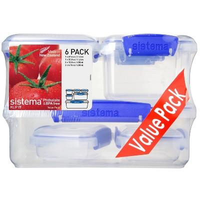 Sistema 12pc Plastic Food Storage Container Set Blue