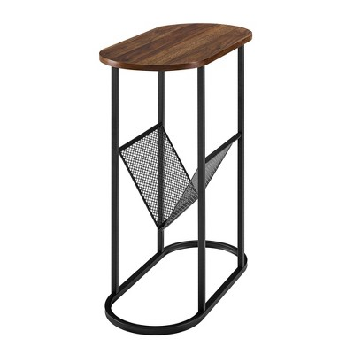 Pierre Contemporary Oval Accent End Table with Wire Rack Metal and Wood - Saracina Home