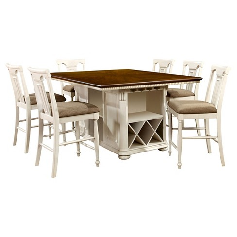 Sun Pine 7pc Country Storage Counter Height Table Set Cherry And