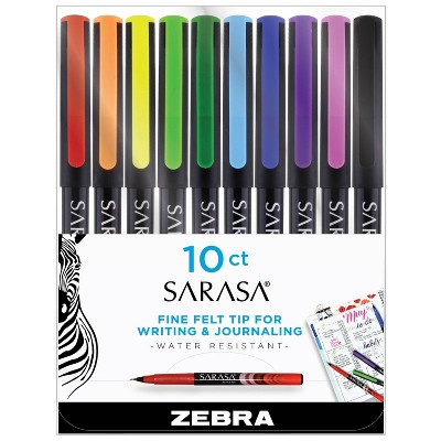 10ct Porous Point Pens Sarasa Fineliner 0.8mm Standard Colors - Zebra