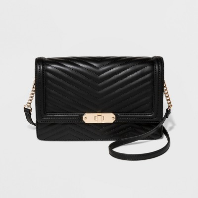 24e8c81f96 Quilted Flap Lock Crossbody Bag – A New Day™ Black – Target ...