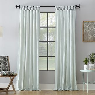 "52""x95"" Washed Cotton Twist Tab Curtain Seafoam - Archaeo"