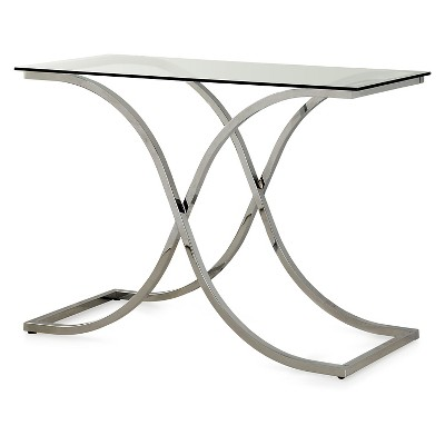 Leah Contemporary Metal Glass Top Sofa Table Chrome - HOMES: Inside + Out