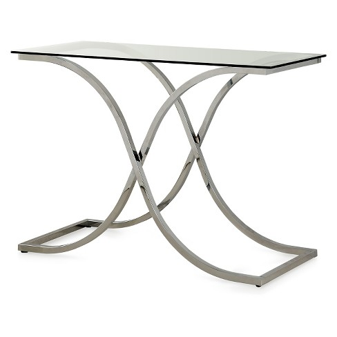 ioHomes Contemporary Metal Glass Top Sofa Table Chrome - image 1 of 3
