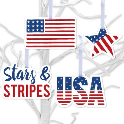 Big Dot of Happiness Stars & Stripes - Patriotic Decorations - Tree Ornaments - Set of 12