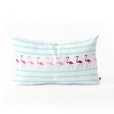 Monika Strigel Mini Flamingo Walk Lumbar Throw Pillow Green - Deny Designs