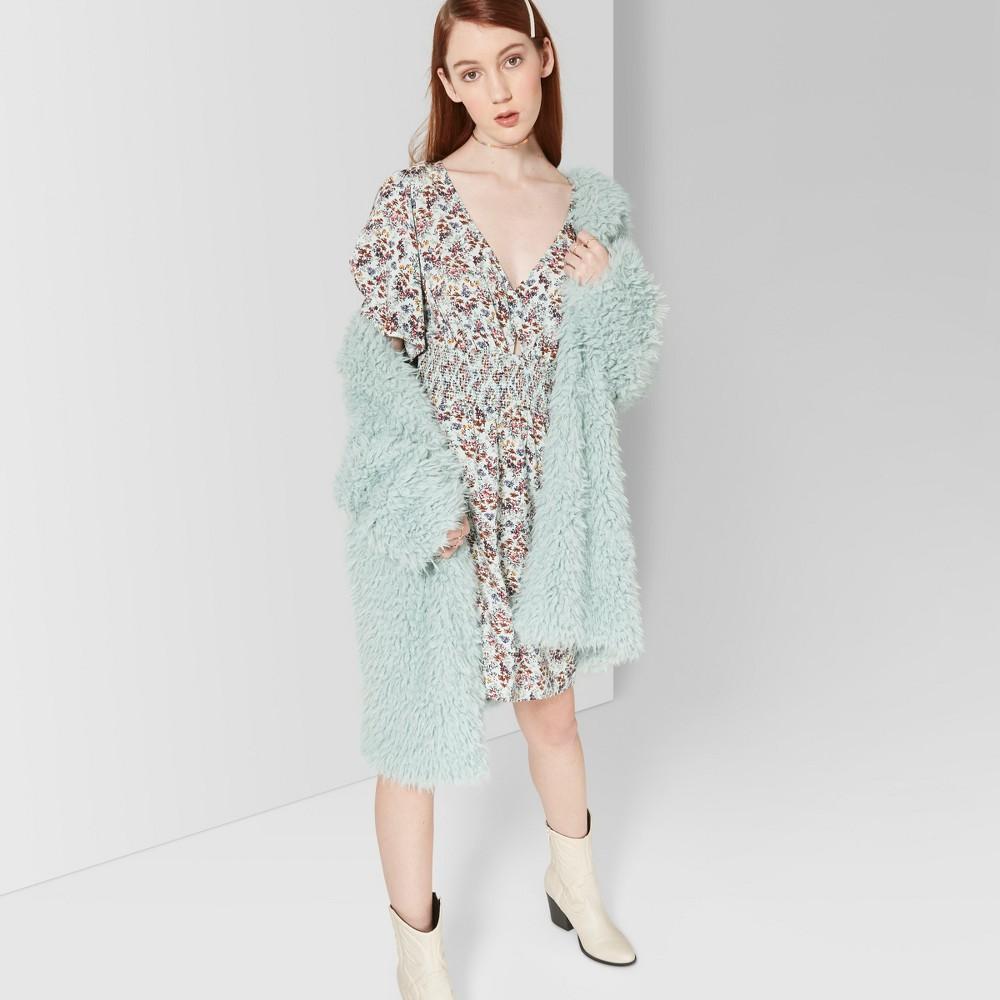 Women's Floral Print Short Sleeve Smocked Waist Dress - Wild Fable Mint L, Blue