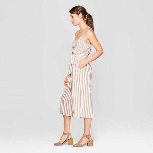 8dc56a8a5f5 Women s Striped Sleeveless Deep V-Neck Button Front Jumpsuit - Universal  Thread™ Brown White XXL   Target