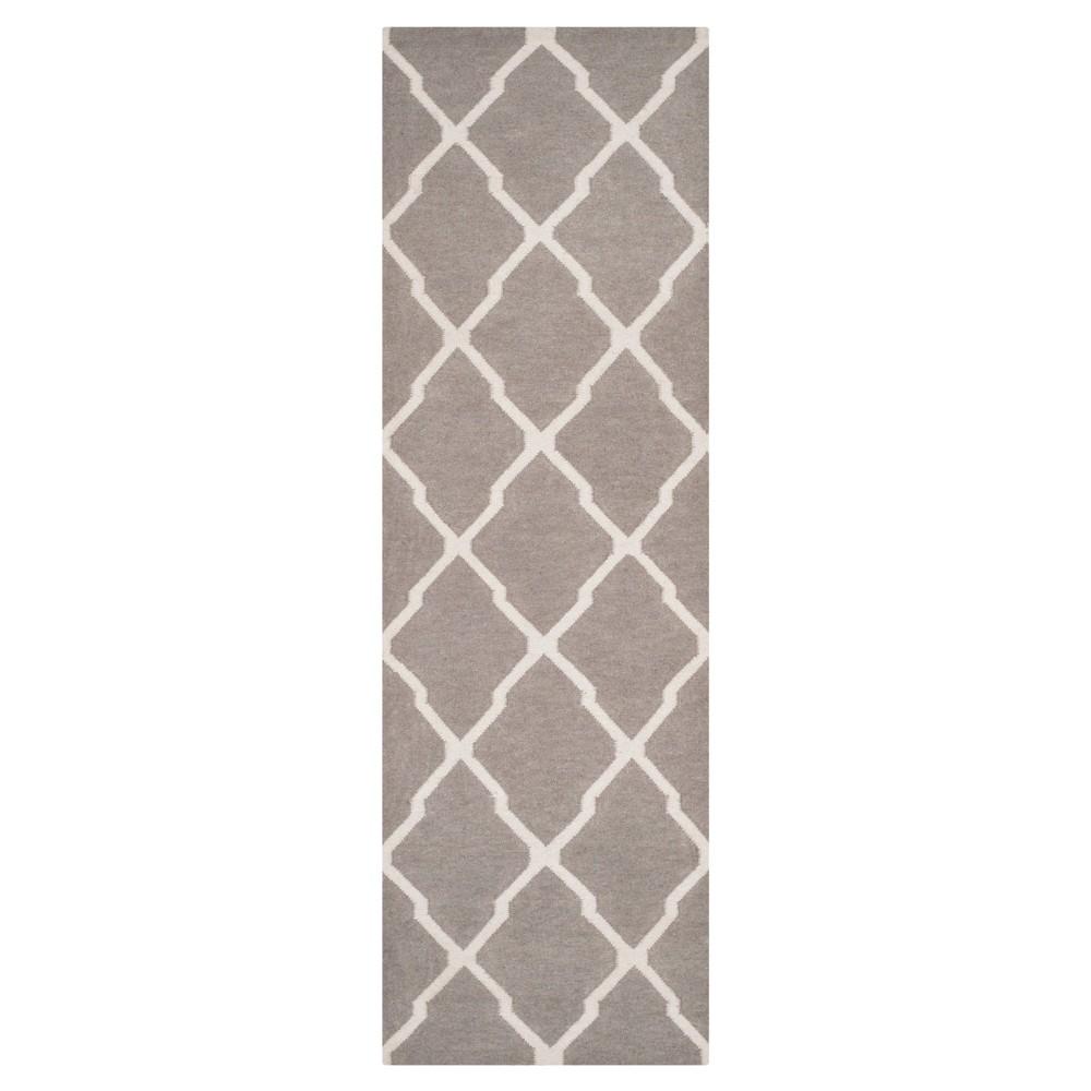 Taza Dhurry Rug - Dark Grey/Ivory - (2'6x8') - Safavieh, Dark Gray/Ivory