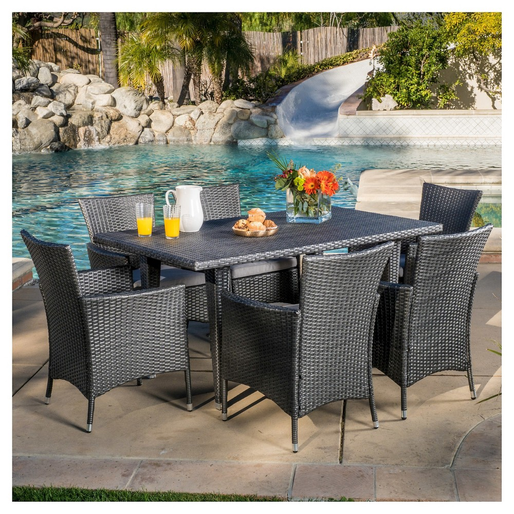 Low Price Malta 7pc Wicker Patio Dining Set With Cushions Gray Christopher Knight Home