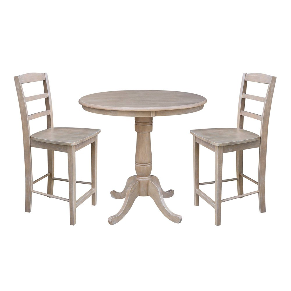 36 Bruce Round Pedestal Counter Height Table with Two Stools Light Gray - International Concepts was $799.99 now $599.99 (25.0% off)