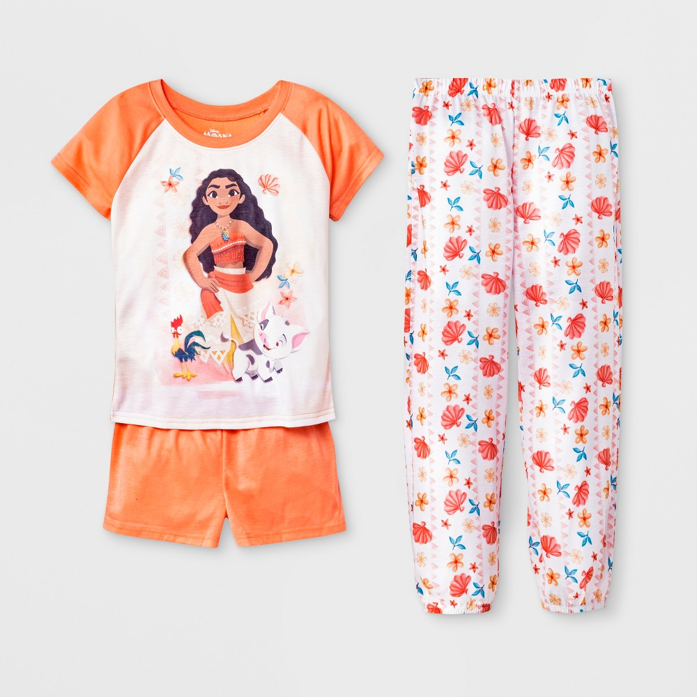 Girls' Moana 3pc Pajama Set - Orange 4