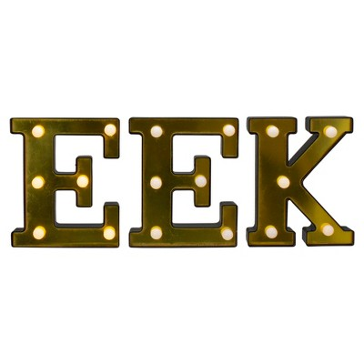 """Northlight 6.5"""" Lighted Black and Gold EEK Halloween Marquee Decoration"""