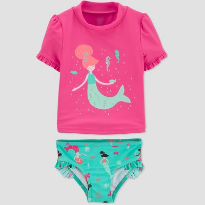 Baby Girls' Mermaid Swim Rash Guard Set - Just One You® made by carter's Pink 3M