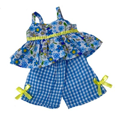 Doll Clothes Superstore Flower With Check Short Set Fits Baby Alive And Little Baby Dolls