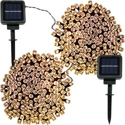 2pk - 200ct Solar LED String Lights - 68' - Warm White - Sunnydaze Decor