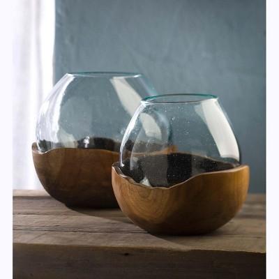 VivaTerra Blown Glass Vase with Teak Base, Set of 2