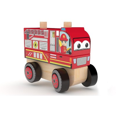 J'adore Fire Truck Wooden Stacking Toy