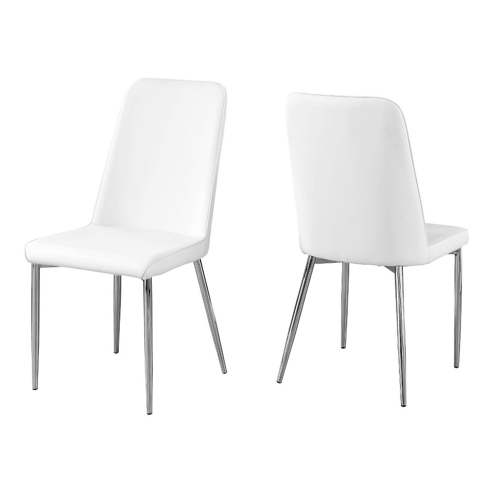 Dining Chair Leather And Chrome White Everyroom