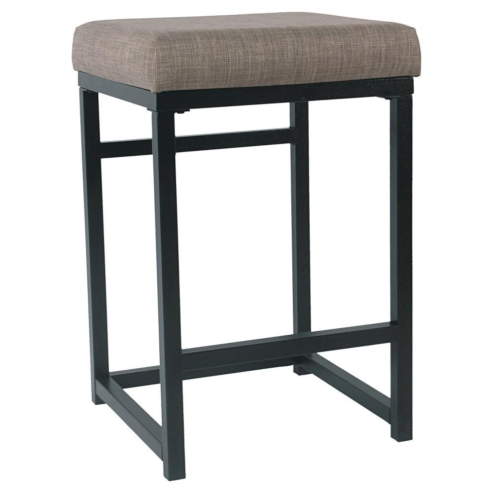 Open Back Metal Counter Height Barstool Dark Gray Homepop