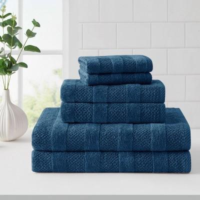 6pc Quick Dry Bath Towel Set Blue - Cannon