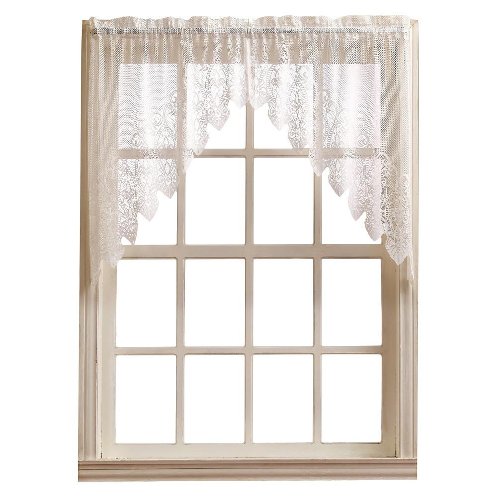 Joy Classic Lace Kitchen Curtain Tier Pair White (30