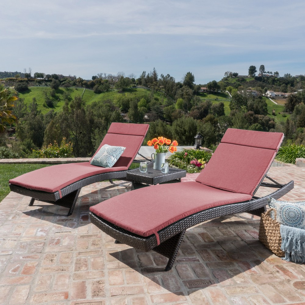 Salem 3pc All-Weather Wicker Patio Lounge & Coffee Table - Red - Christopher Knight Home