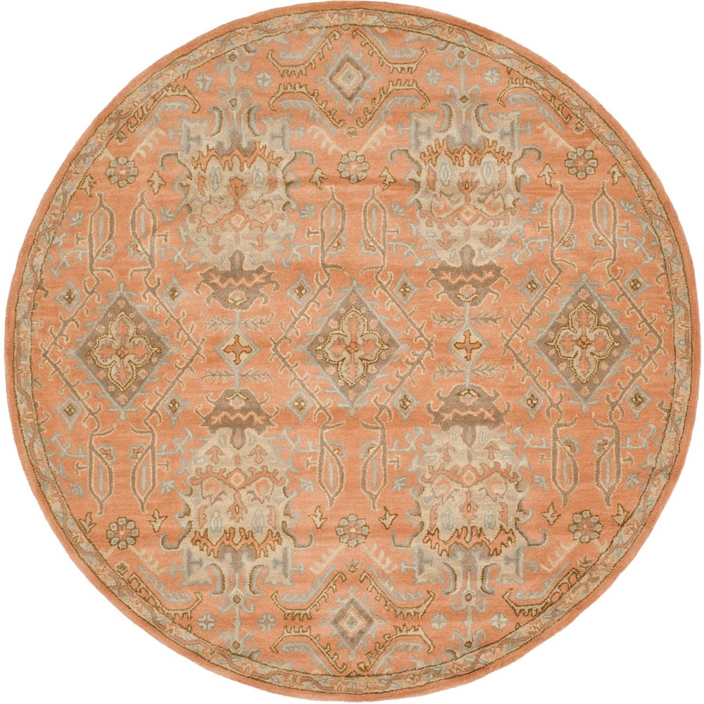 5' Medallion Tufted Round Area Rug Terracotta - Safavieh