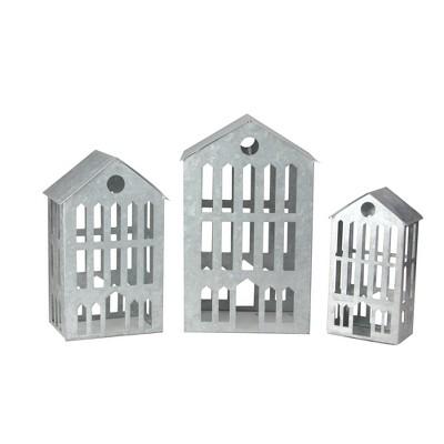 "Ganz Set of 3 Silver Galvanized Nesting Christmas Houses Tabletop Decor 12"""