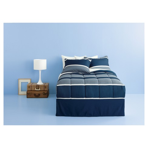 Dark Blue Classic Stripe Bed In A Bag Queen Roo Target