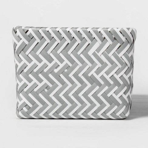 Small Rectangle 3 Compartment Woven Bin Gray and White - Room Essentials™ - image 1 of 3