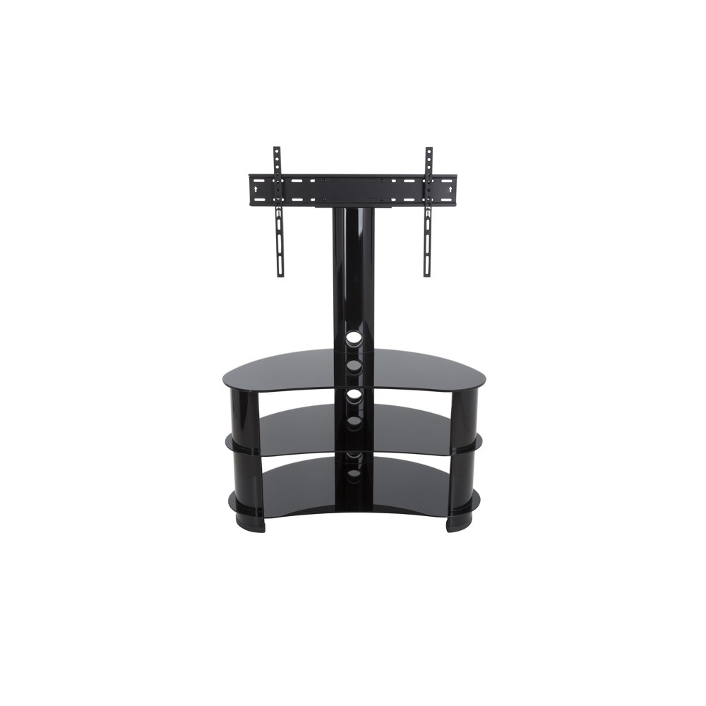 32-60 Jelly Bean Curved Pedestal TV Stand Black - Avf Jelly Bean's unique shape makes it perfect for sitting in corners or along flat walls, designed using tempered glass and aluminium. Perfect for holding not only your TV but your various AV components such as digital receivers, DVRs, Blu-ray, or gaming consoles. Route all cables via the built-in cable management with entry and exit points along the length of the column so that all your power and connectivity leads can easily reach your equipment in a neat and organized fashion. Featuring secure Avf mounting technology, you can easily protect your TV from accidental knocks or tip overs. Color: Black.